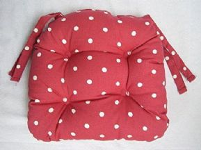 DOTTY RED CHAIR SEAT PAD 100% POLYESTER INNER £8.99 EACH FREE POSTAGE